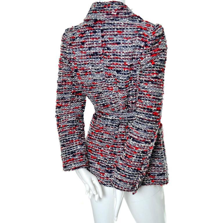 Women's 1970s Jean Louis Scherrer Numbered Boutique Vintage Tweed Jacket With Belt For Sale