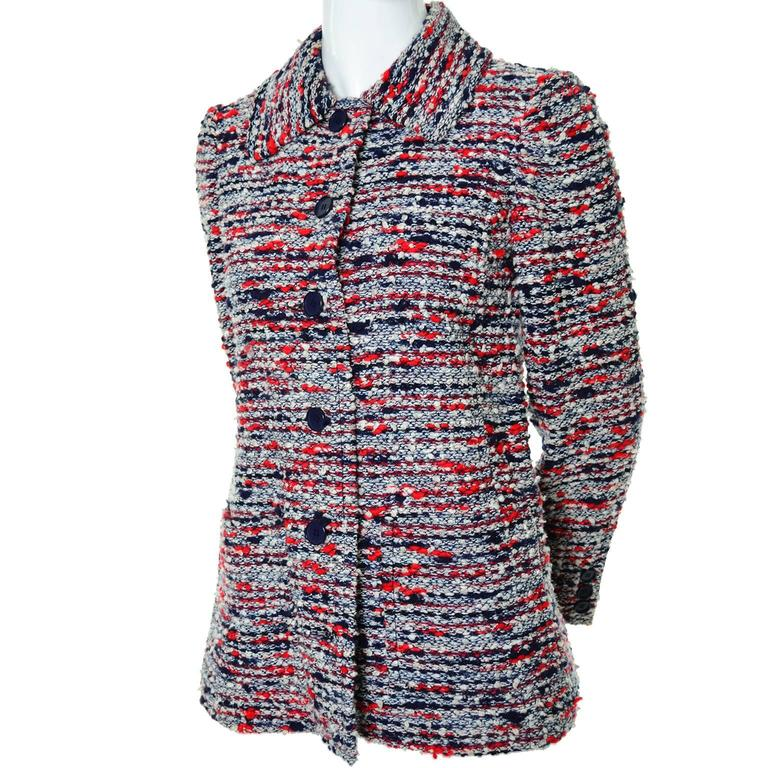 1970s Jean Louis Scherrer Numbered Boutique Vintage Tweed Jacket With Belt In Excellent Condition For Sale In Portland, OR