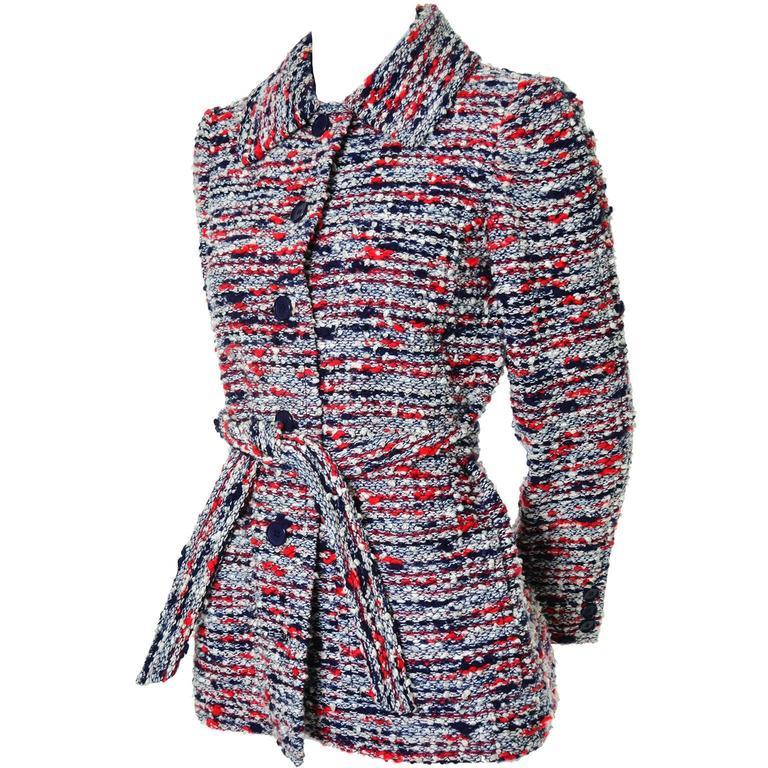 1970s Jean Louis Scherrer Numbered Boutique Vintage Tweed Jacket With Belt For Sale