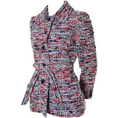 1970s Jean Louis Scherrer Numbered Boutique Vintage Tweed Jacket With Belt