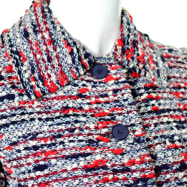 Gray 1970s Jean Louis Scherrer Numbered Boutique Vintage Tweed Jacket With Belt For Sale