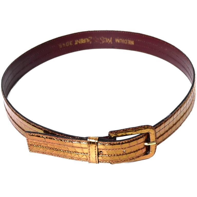 YSL Vintage Belt Yves Saint Laurent Copper Metallic Medium