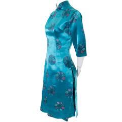 Alfred Shaheen 1950s Silk Asian Inspired Cheongam Dress And Bermuda Shorts