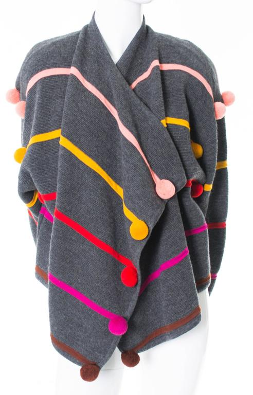 Women's Documented 1980s Escada Vintage Sweater w/ Colorful Pom Poms Margaretha Ley For Sale
