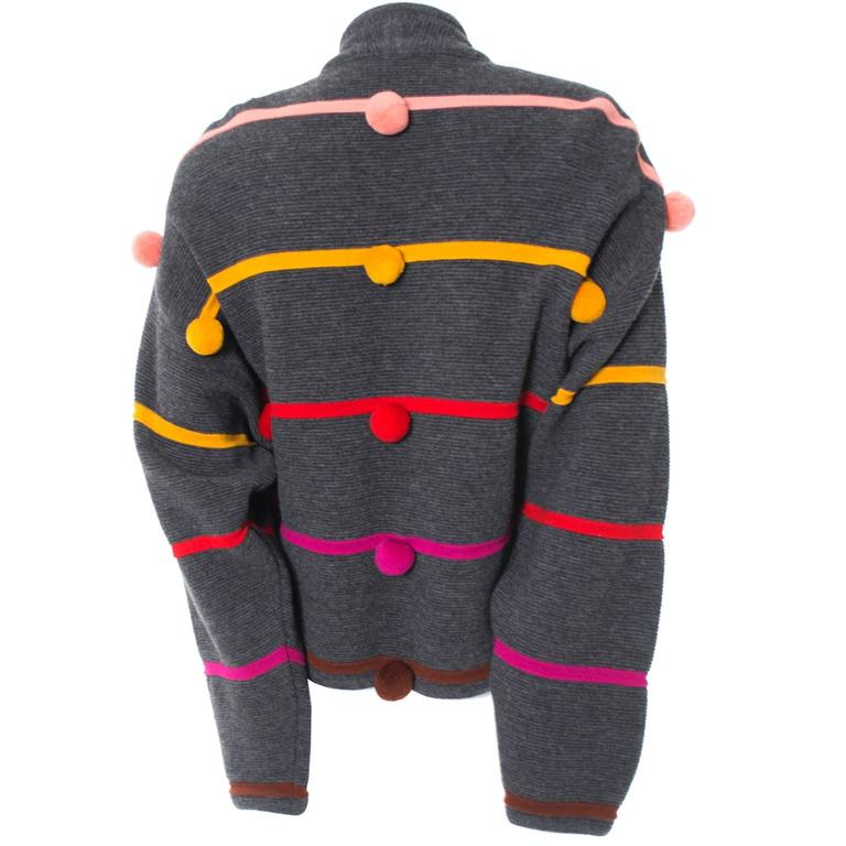 Documented 1980s Escada Vintage Sweater w/ Colorful Pom Poms Margaretha Ley For Sale 1