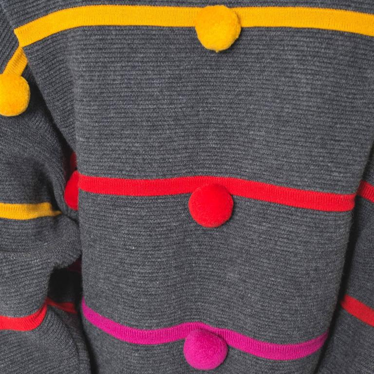 Documented 1980s Escada Vintage Sweater w/ Colorful Pom Poms Margaretha Ley For Sale 2