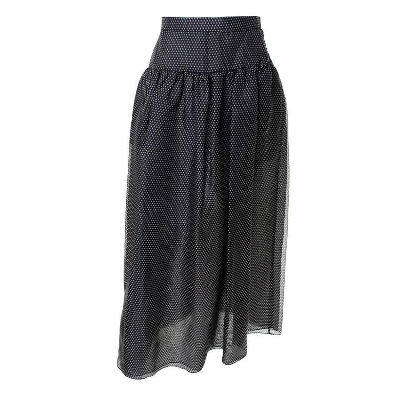 Oscar de la Renta Vintage Silk Polka Dot Skirt New With Tags Deadstock 6/8