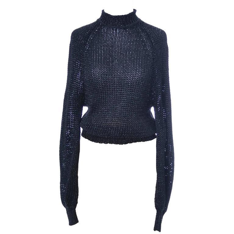 Krizia Maglia Vintage Rayon Blend Black Stretch Metallic Open Weave Sweater Top