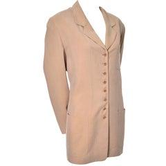 Emanuel Ungaro Sueded Beige Silk Vintage Blazer 14/48
