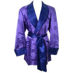 1930's Vintage Mens Smoking Jacket Shanghai China Deluxe Silk Satin Purple