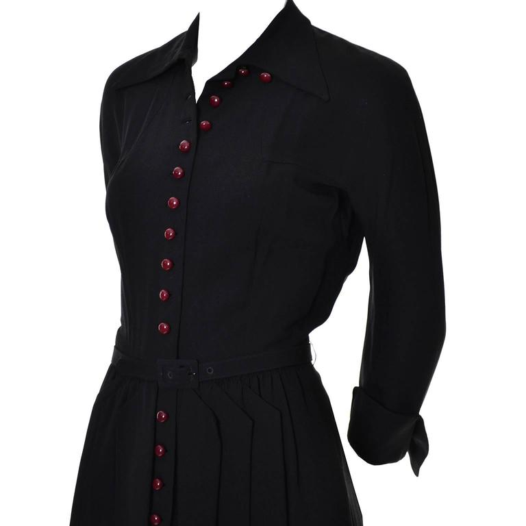 Black 1940s Early Adele Simpson Vintage Dress Rare Pleat Details 6 For Sale