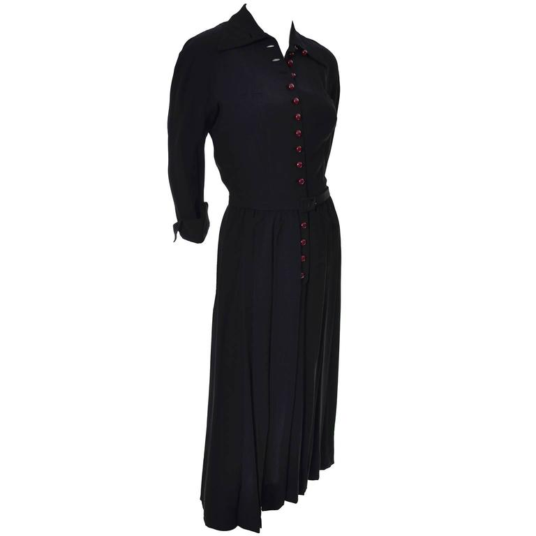 1940s Early Adele Simpson Vintage Dress Rare Pleat Details 6 For Sale