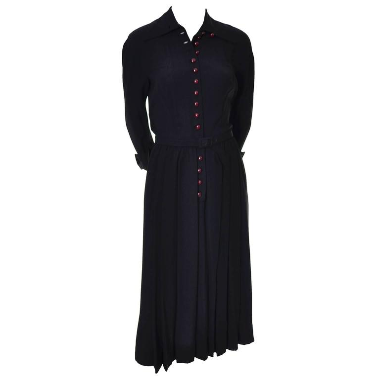 1940s Early Adele Simpson Vintage Dress Rare Pleat Details 6 For Sale 1