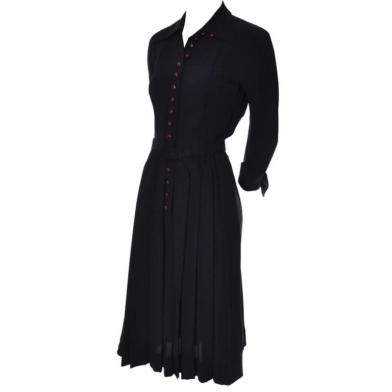 1940s Early Adele Simpson Vintage Dress Rare Pleat Details 6 For Sale 2