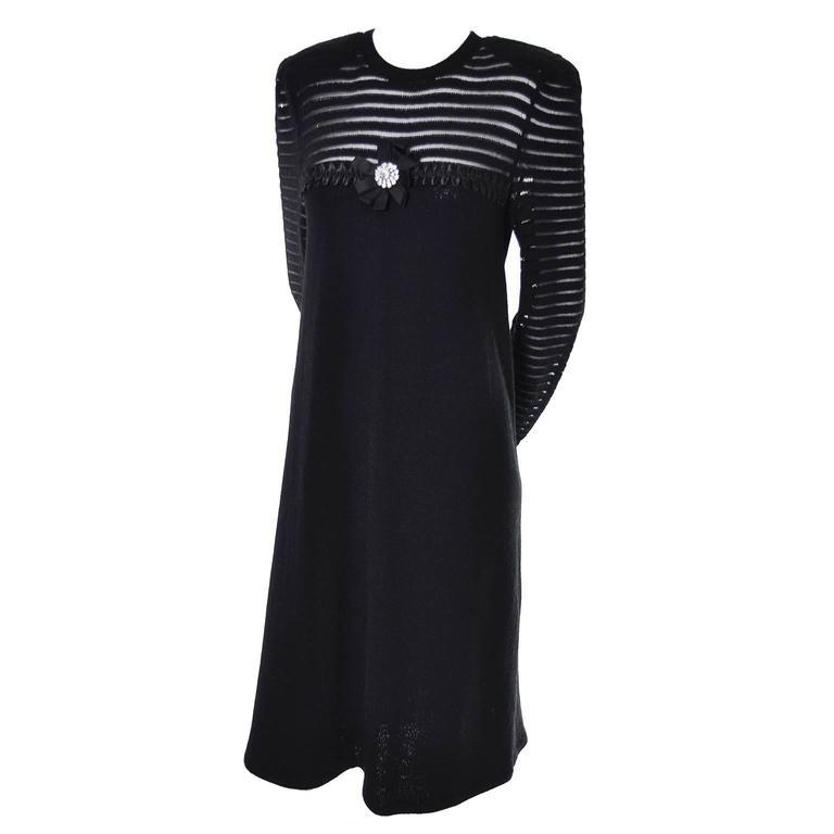 Adolfo 1970s Vintage Dress Black Knit Rhinestones 6/8 For Sale