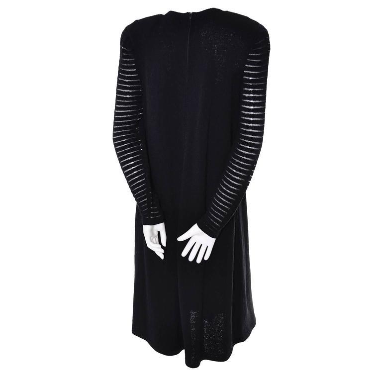 Adolfo 1970s Vintage Dress Black Knit Rhinestones 6/8 For Sale 1