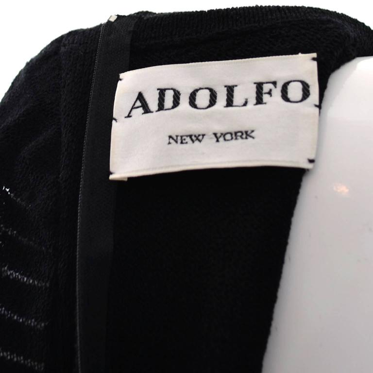 Adolfo 1970s Vintage Dress Black Knit Rhinestones 6/8 For Sale 2