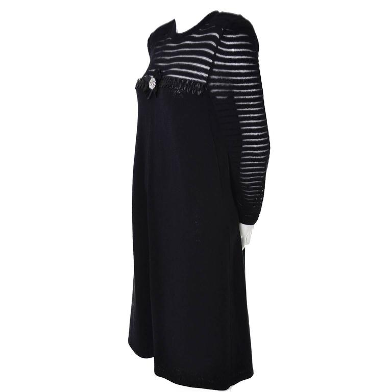 Women's Adolfo 1970s Vintage Dress Black Knit Rhinestones 6/8 For Sale