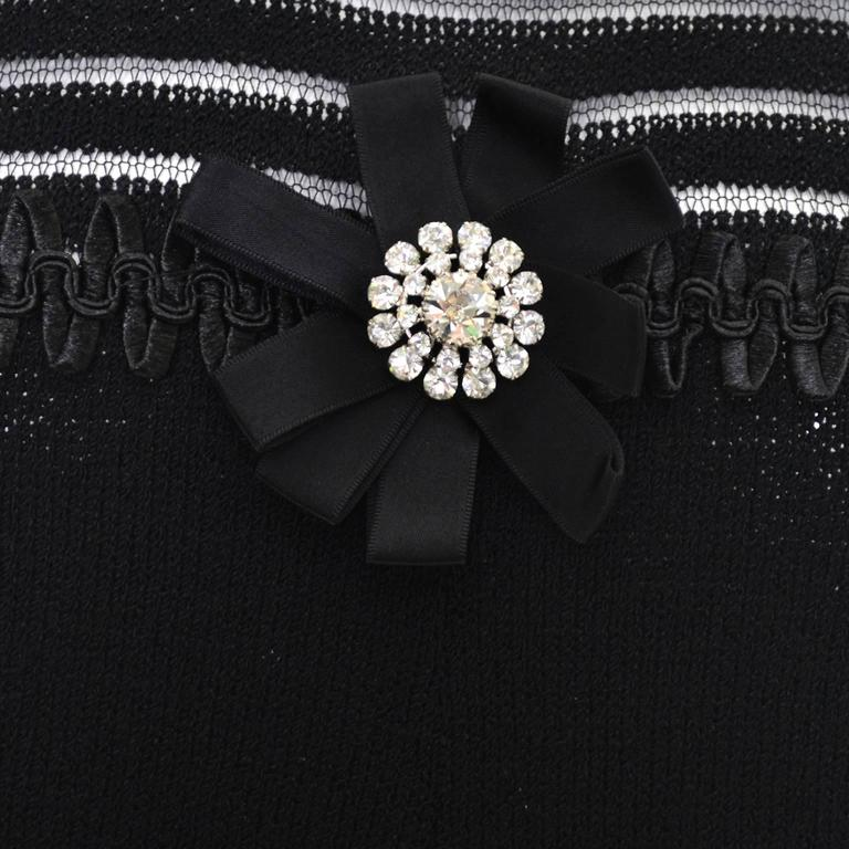 Adolfo 1970s Vintage Dress Black Knit Rhinestones 6/8 In Excellent Condition For Sale In Portland, OR