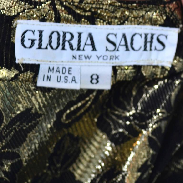 Gloria Sachs New York 1980s Vintage Blouse Metallic Black Gold Roses 8 5