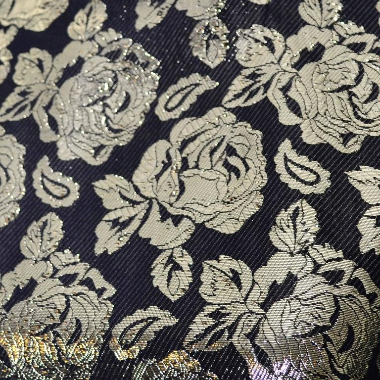Gloria Sachs New York 1980s Vintage Blouse Metallic Black Gold Roses 8 4