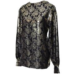 Gloria Sachs New York 1980s Vintage Blouse Metallic Black Gold Roses 8
