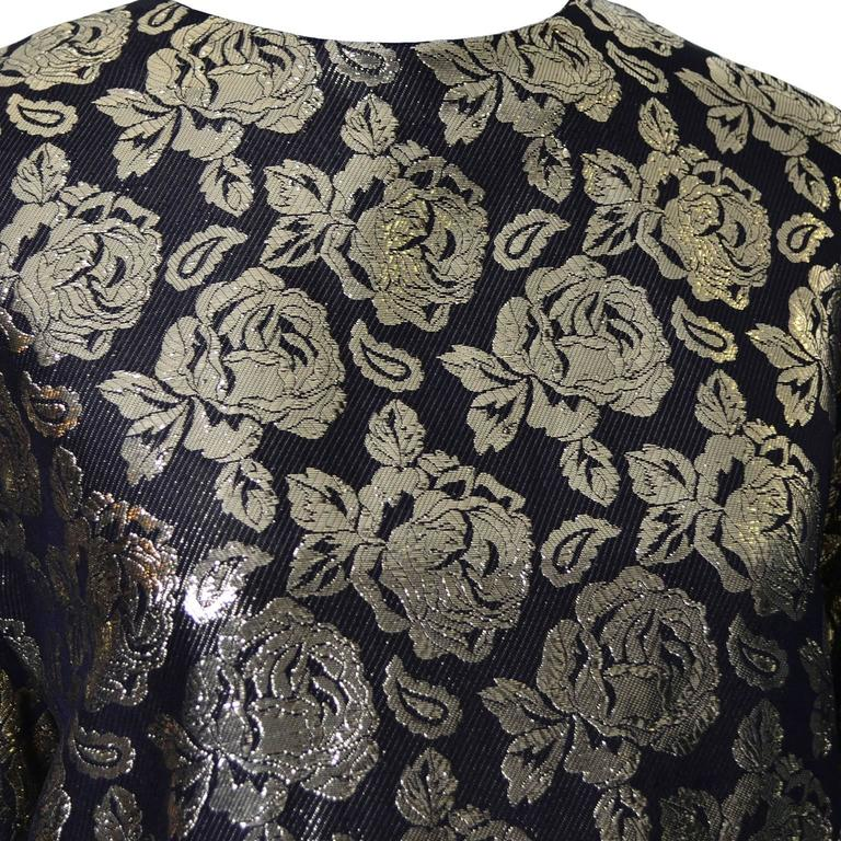 Gloria Sachs New York 1980s Vintage Blouse Metallic Black Gold Roses 8 2