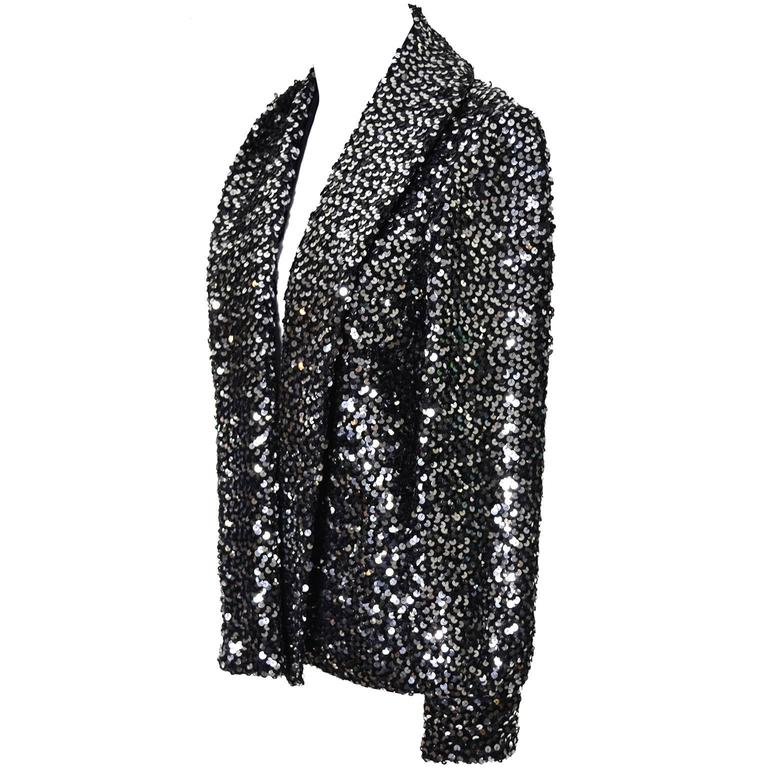 I Magnin Vintage Evening Jacket Cardigan in Metallic Silver w/ Sequins S/M In Excellent Condition For Sale In Portland, OR