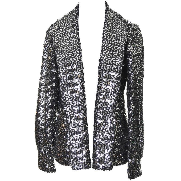 I Magnin Vintage Jacket Evening Wear Sequins Metallic Silver 34 to 38 Bust