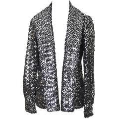 I Magnin Vintage Evening Jacket Cardigan in Metallic Silver w/ Sequins S/M