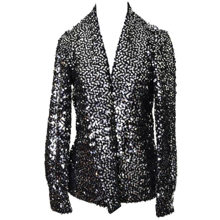 Black I Magnin Vintage Evening Jacket Cardigan in Metallic Silver w/ Sequins S/M For Sale