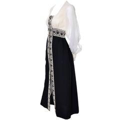 Vintage Beaded Black and Ivory Dress Hand Zipper Pull Chiffon 8