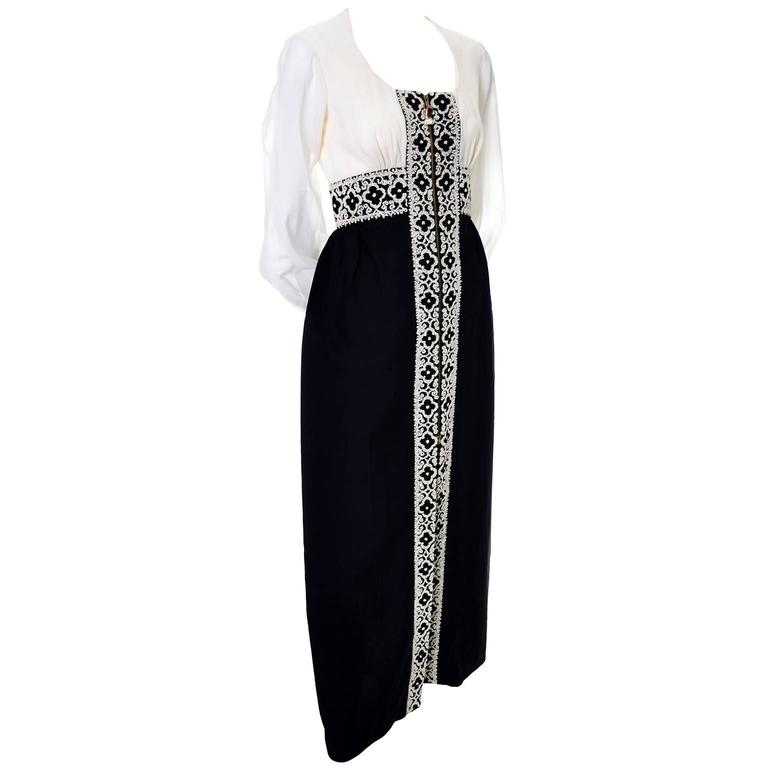 Vintage Beaded Black and Ivory Dress Hand Zipper Pull Chiffon 8 3