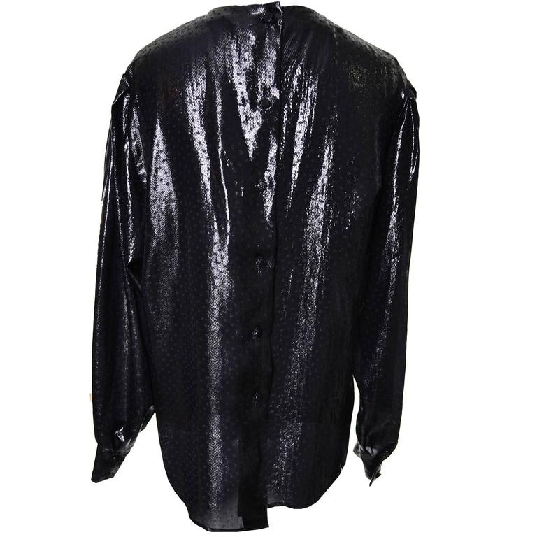 1980s Gloria Sachs Black Metallic Tissue Lame Vintage Blouse 8 For Sale 1