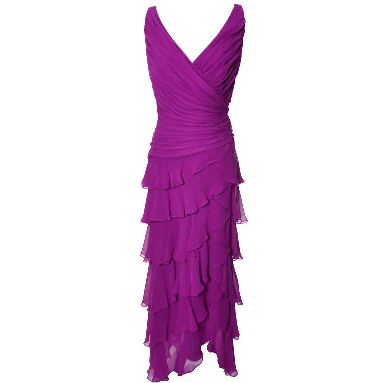 Tadashi Vintage Dress Purple Silk Layered Chiffon Ruffles Size 8 For Sale