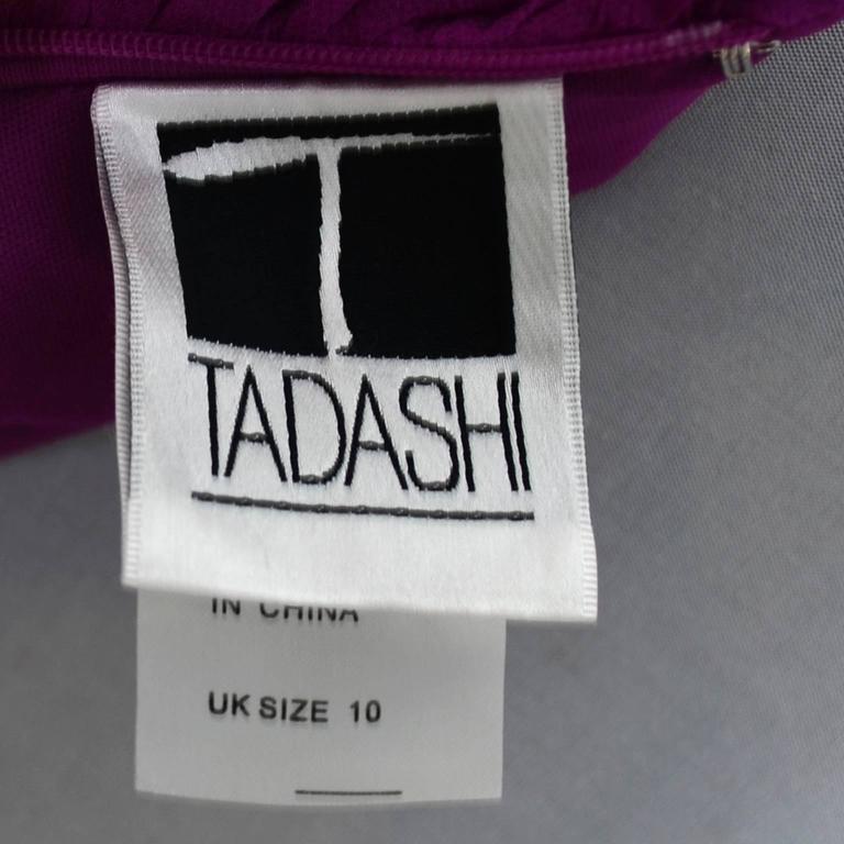 Tadashi Vintage Dress Purple Silk Layered Chiffon Ruffles Size 8 For Sale 1