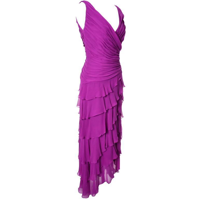 Women's Tadashi Vintage Dress Purple Silk Layered Chiffon Ruffles Size 8 For Sale