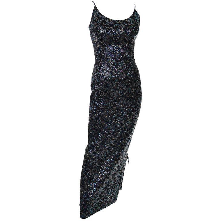 Nicholas Ungar Vintage Dress Metallic Paisley Sparkle