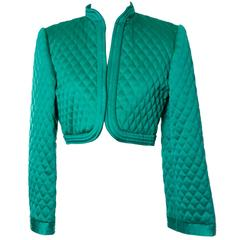 1970s Victor Costa Vintage Quilted Satin Green Bolero Cropped Jacket S