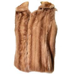Vintage Mink Vest Genuine Fur Zip Front M/L