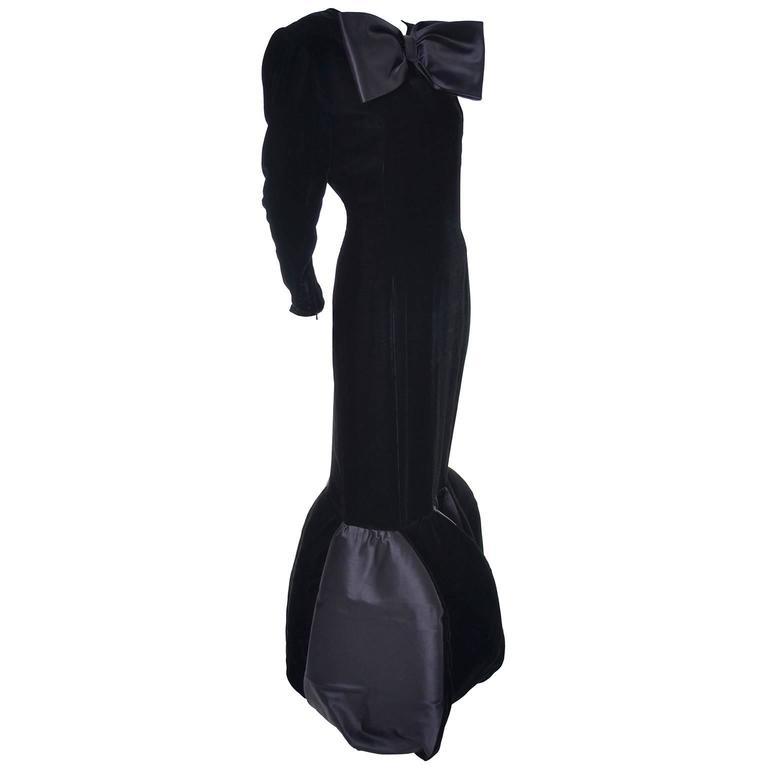 Avant Garde Givenchy Vintage Dress Velvet Statement Evening Gown 12 For Sale