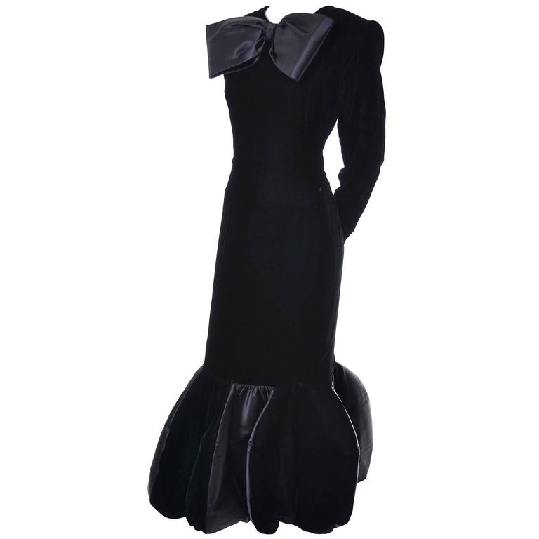 Avant Garde Givenchy Vintage Dress Velvet Statement Evening Gown 12 For Sale 3