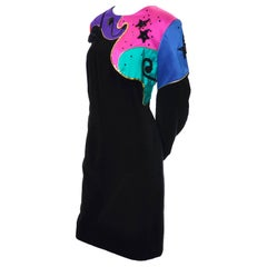 1980s Louis Feraud Vintage Black Velvet Dress w/ Abstract Color Block & Beading