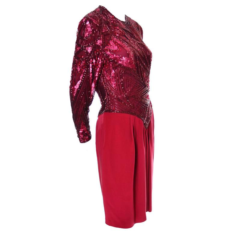 Women's 1980s Bob Mackie Boutique Vintage Dress Red Silk Beaded Sequins Rhinestones 4 For Sale