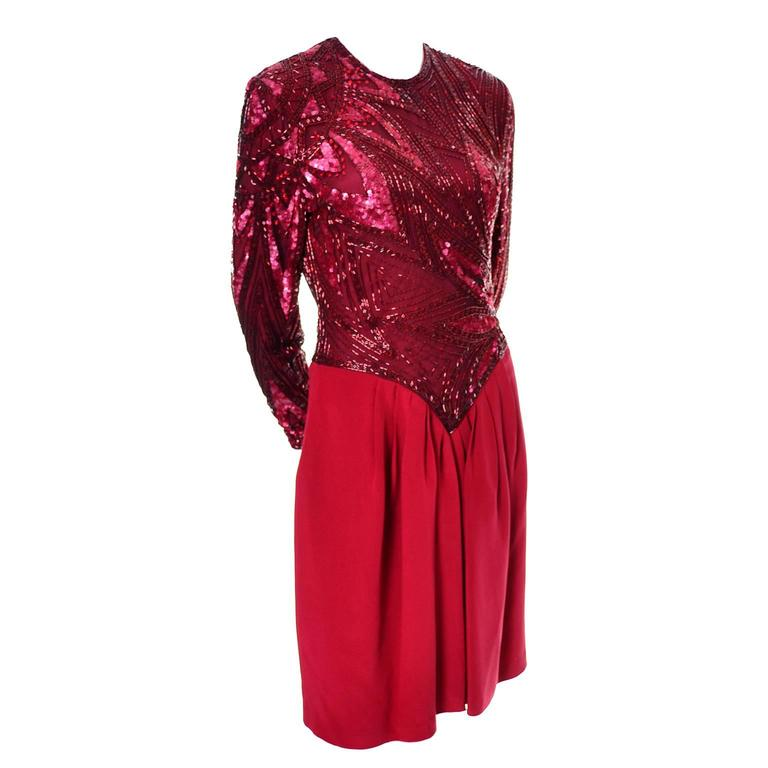 1980s Bob Mackie Boutique Vintage Dress Red Silk Beaded Sequins Rhinestones 4