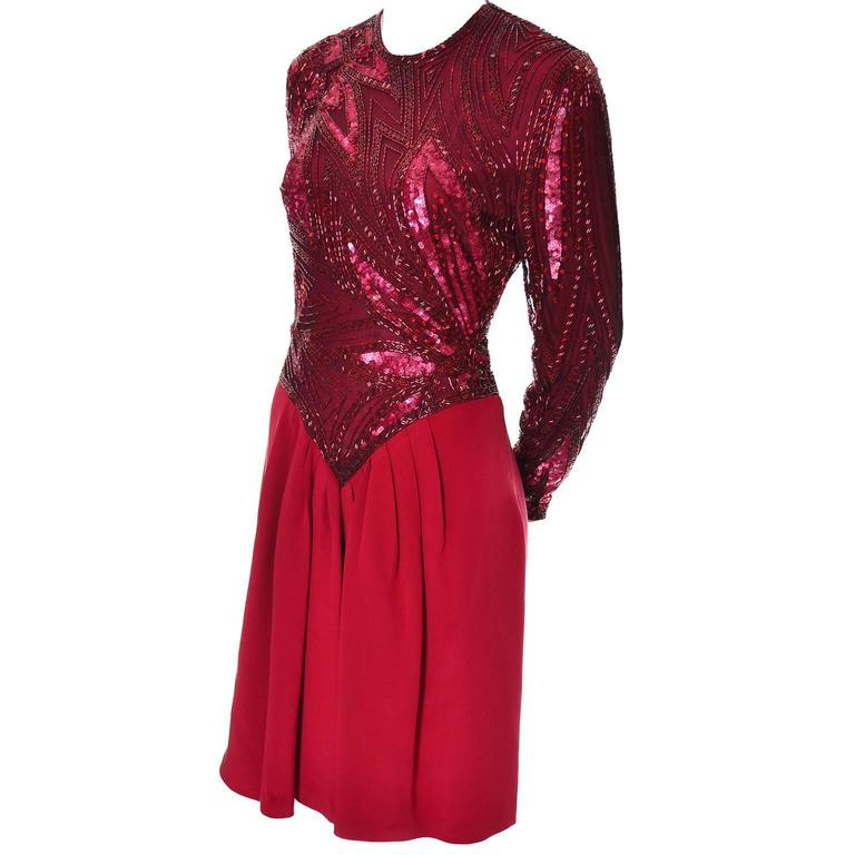 1980s Bob Mackie Boutique Vintage Dress Red Silk Beaded Sequins Rhinestones 4 In Excellent Condition For Sale In Portland, OR