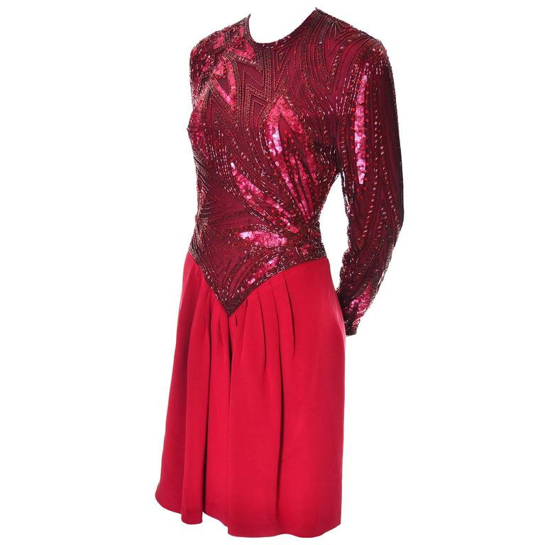 1980s Bob Mackie Boutique Vintage Dress Red Silk Beaded Sequins Rhinestones 4 For Sale 1
