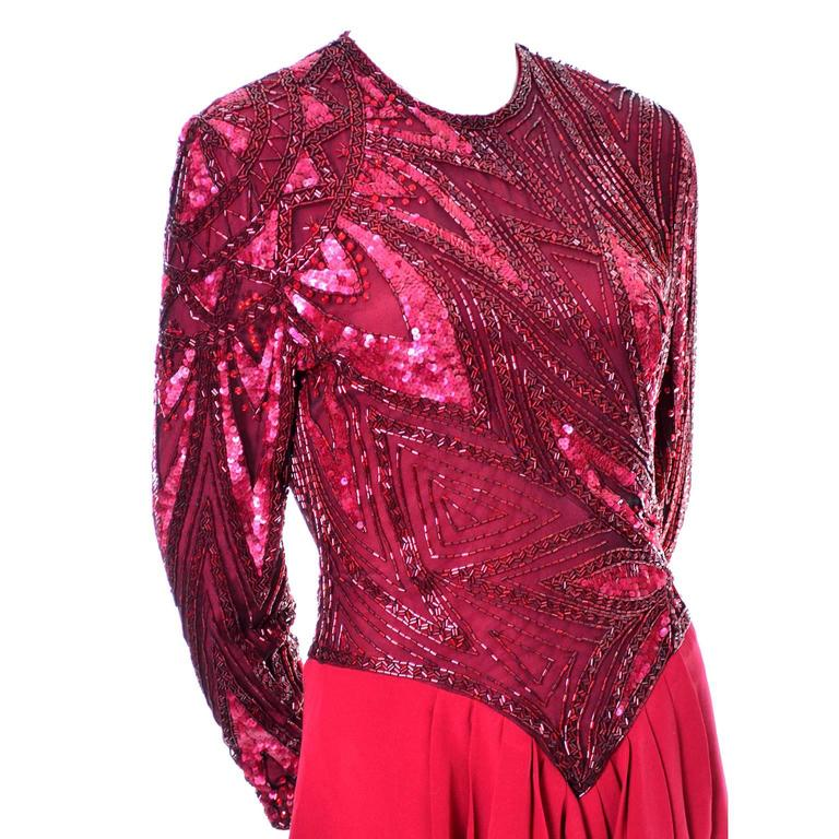 1980s Bob Mackie Boutique Vintage Dress Red Silk Beaded Sequins Rhinestones 4 For Sale 4