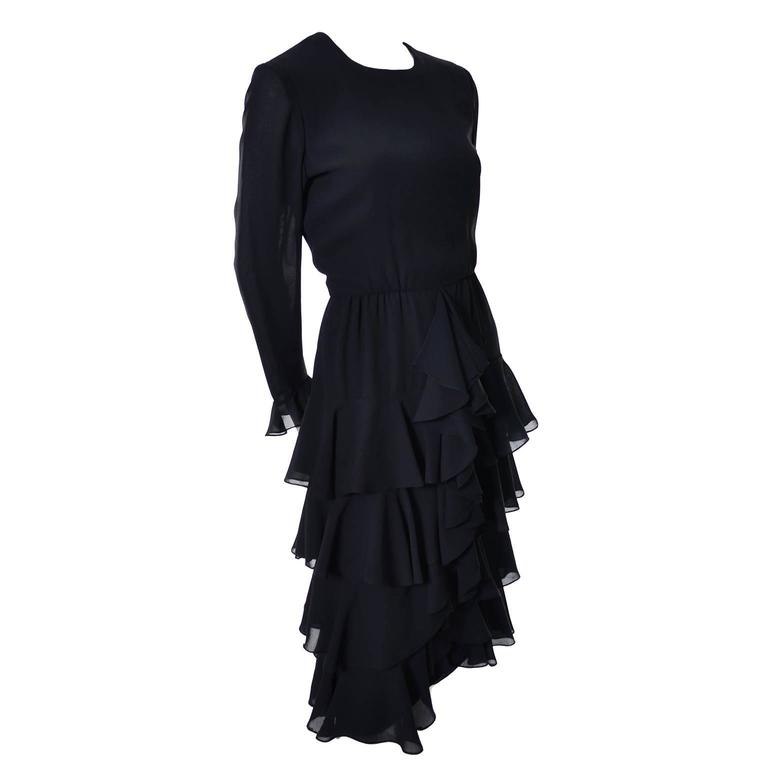 Bill Blass 1980s Vintage Cocktail Dress Black Chiffon Ruffles Layers 6/8