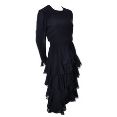 Bill Blass 1980s Vintage Cocktail Black Silk Dress With Ruffles & Layers Sz 6/8